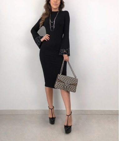 b30077b8b VESTIDO PRETO MANGA LONGA COM RENDA K 2Z9RJFTZX - Livia Fashion ...
