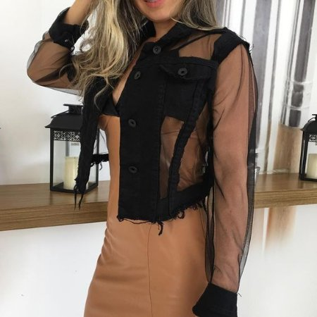 903e04427 JAQUETA JEANS COM TULE PRETA K S9NVKTPLD - Livia Fashion - Atelier ...