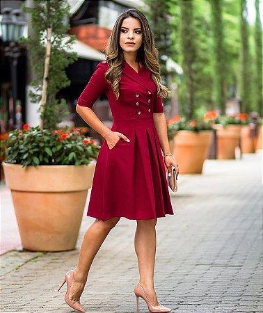 Vestido Blazer Vermelho Plissado Com Bolsos K K549ghmxq