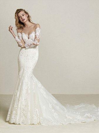564f4db3c VESTIDO DE NOIVA RENDA E TULE COM CALDA K 2UFVPMJKQ - Livia Fashion ...