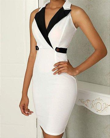 43db201db8e3 VESTIDO BRANCO COM DETALHES PRETOS K XUWJUEVTG - Livia Fashion ...