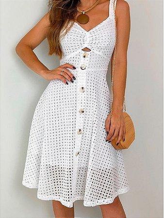 Vestido Branco Em Laise Com Botões K Dk5mbub2s