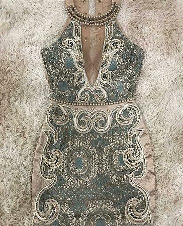 dffeb57310aa VESTIDO COM RENDA TULE E PEDRARIA K 3DGLSFB29 - Livia Fashion ...