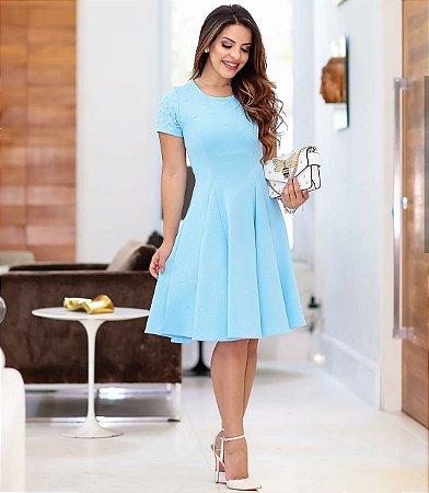 eb6388442 VESTIDO CREPE AZUL TIFFANY T4UES77NC - Livia Fashion - Atelier de ...
