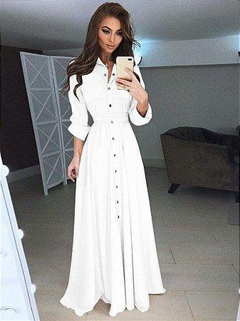Vestido Manga Longa Com Bolsos E Botões Branco K N69ycazsf