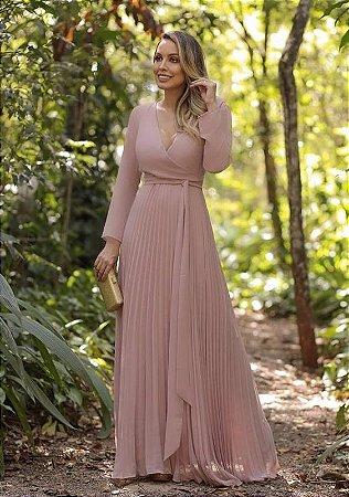 1b85ca12b VESTIDO MANGA LONGA PLISSADO ROSA K VFSCNJLUP - Livia Fashion ...