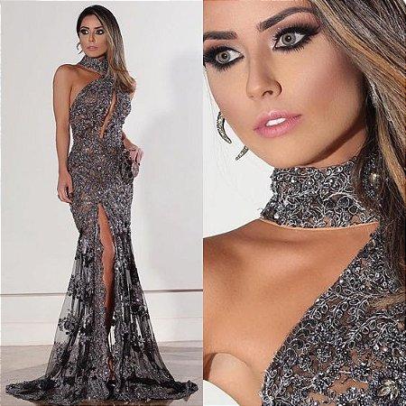 8d6a0bf03 VESTIDO GOLA ALTA DE RENDA COM FENDA K NHSBTN7ZX * - Livia Fashion ...