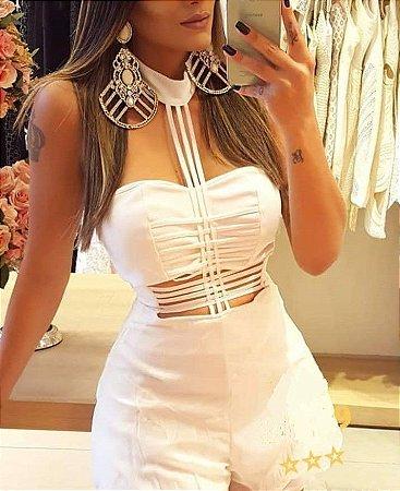 a870ee7cb MACAQUINHO GOLA ALTA COM TIRAS BRANCO K R7H2PJ5J9 - Livia Fashion ...