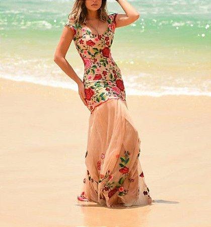 ca7009ba7d22 VESTIDO COM TULE BORDADO NUDE K XGFTVTX6C - Livia Fashion - Atelier ...