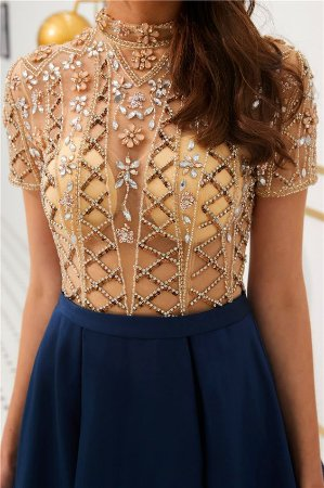 6f0b47e0afb3 VESTIDO COM TULE BORDADO AZUL MARINHO K ETGHA743D - Livia Fashion ...