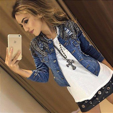188a7953b JAQUETA JEANS COM BORDADOS OMBRO A 6PUUGLT4C - Livia Fashion ...