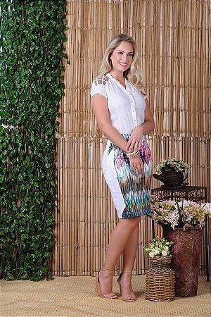 3c4e570e5e CONJUNTO CAMISA CREPE E SAIA ESTAMPADA K ZWYQSKAVJ - Livia Fashion ...