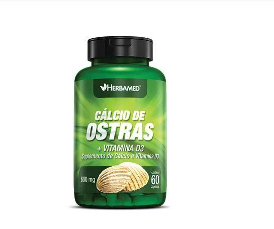 CÁLCIO DE OSTRA + VITAMINA D3 600 MG C/ 60 Cápsulas