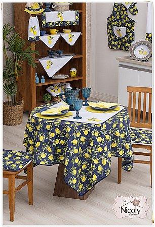 Toalha de Mesa Para 4 Cadeiras – Limão Blue, 1,40m x 1,40cm.