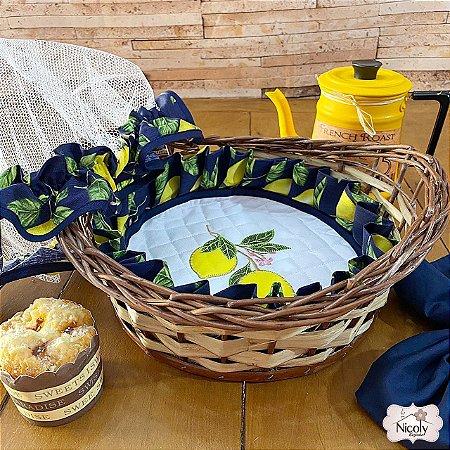 Cesta Vime – Limão Blue, 100% Algodão.