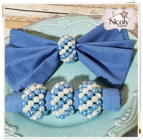 Porta guardanapo - 06 Azul e Branco.