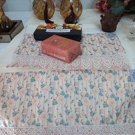 Kit Rosto e Lavabo - Flor rosa