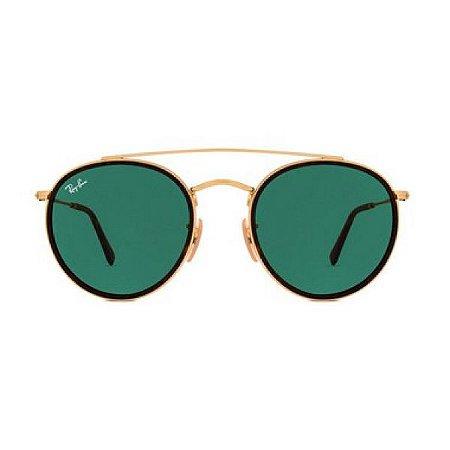 Óculos de Sol Ray-Ban RB3647 Round Double Bridge - verde / dourado