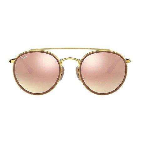 Óculos de Sol Ray-Ban RB3647 Round Double Bridge - rosa espelhado