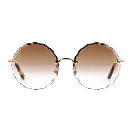 Óculos de Sol Chloé Flower - Marrom Degrade