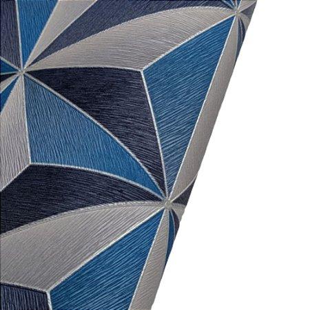 Papel de Parede 3D Geométrico Tons Azul Rolo de 53x1000cm