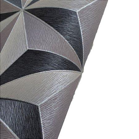 Papel de Parede 3D Geométrico Tons Cinza Rolo de 53x1000cm