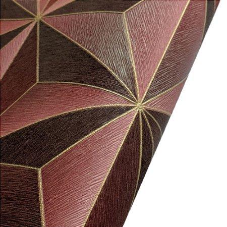 Papel de Parede 3D Geométrico Vermelho Rolo de 53x1000cm
