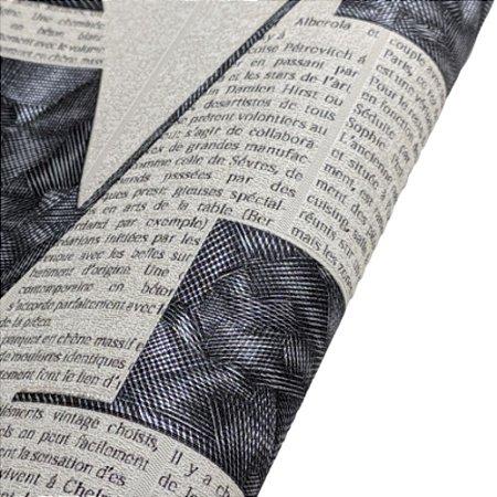 Papel de Parede Letras de Jornal em P&B Rolo de 53x1000cm