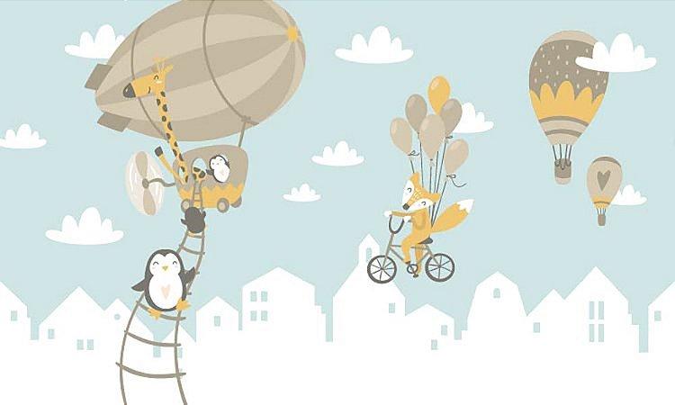 Adesivo de Parede Personalizado Balões e Animais Para Quarto Infantil