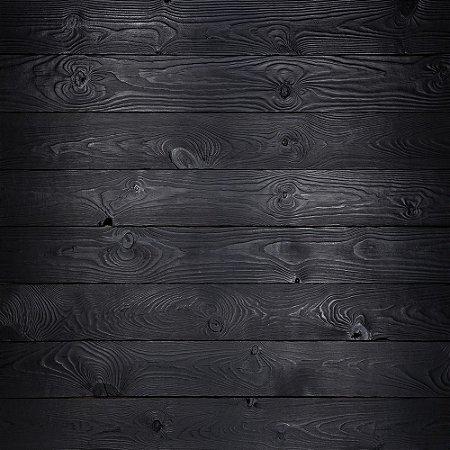 Adesivo de Parede Personalizado Tábua de Madeira Corrida Rústica em Tons de Preto Para Área Gourmet, Cozinha, Churrasqueira