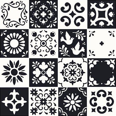 Adesivo de Parede Personalizado Azulejo Decorativo em Tons de Preto e Branco Para Cozinha, Churrasqueira