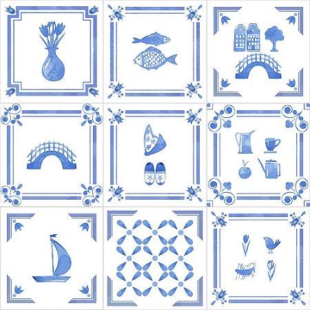 Adesivo de Parede Personalizado Azulejo Decorativo em Tons de Azul e Branco Para Cozinha, Churrasqueira