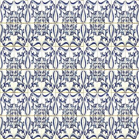 Adesivo de Parede Personalizado Azulejo Decorativo Português em Tons de Azul e Branco Para Cozinha, Churrasqueira
