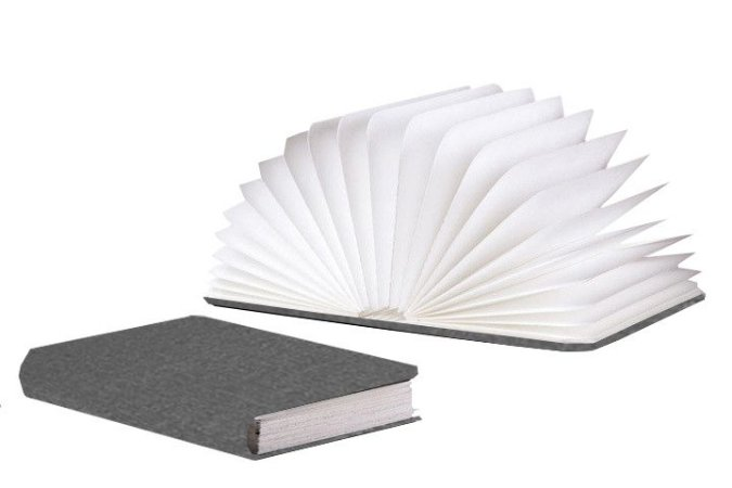 Luminária Livro Sem Fio - 7 cores - Capa Cinza