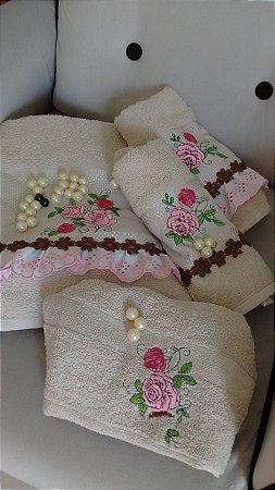 Kit Toaletes Pink Floral