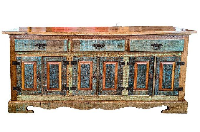Balcão 3 Gavetas e 6 Portas de Madeira de Demolição