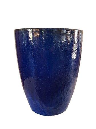 Vaso de Cerâmica Vietnamita Azul Escuro Baixo
