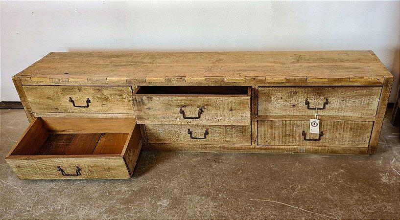 Arcaz Baixo com 6 Gavetas em Madeira de Demolição