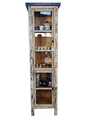 Armário Cristaleira Pátina Banco 5 vãos e 2 Portas