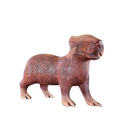 Escultura Capivara de Madeira Grande Peça Única