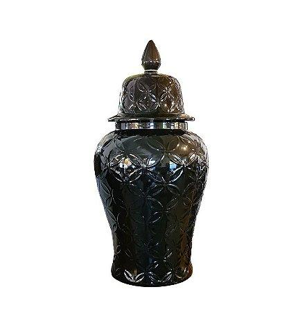 Potiche Decorativo Preto Gigante com Tampa Estilo Asiático