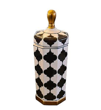 Potiche Decorativo Figuras Geométricas com Tampa em Cerâmica