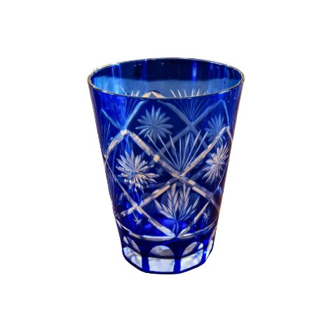 Copo Decorativo de Cristal Azul para Suco