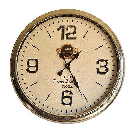 Relógio De Parede Colonial Prata - 50cm Diam. - Dress Boutiq