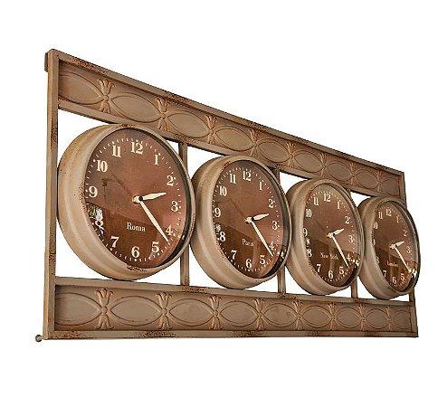 Relógio De Parede Metal Envelhecido - 37x92x07 cm - 4 Países