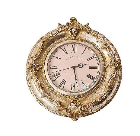 Relógio De Parede Barroco em Resina - 35cm Diam. - England