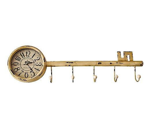 Relógio De Parede Chave Cabideiro de Metal - 26x90x08cm
