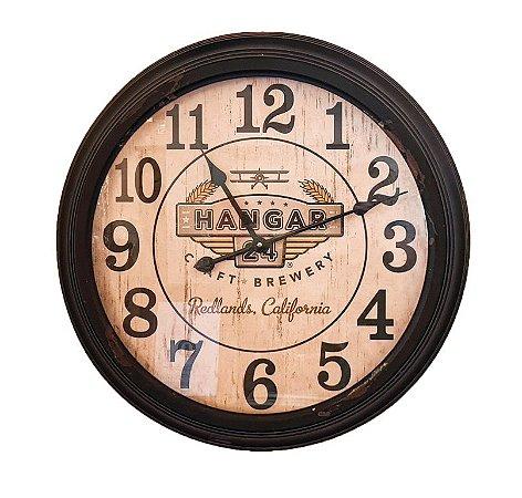 Relógio De Parede em Metal Preto - 65x11cm - Hangar 24