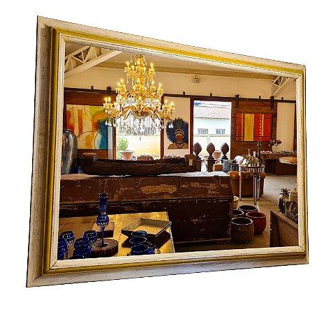 Espelho Colonial Rústico Envelhecido Branco com Amarelo
