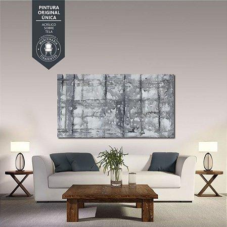 Quadro Abstrato Cores Frias 1,80m X 1,00m - Tela Original